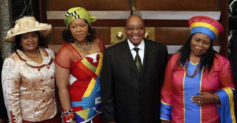Jacob Zuma and his three wives, Nompumelo Ntuli, Tobek Madib (Thobeka Mabhija) and Saiskele Kumalo. (Sizakele Khumalo).