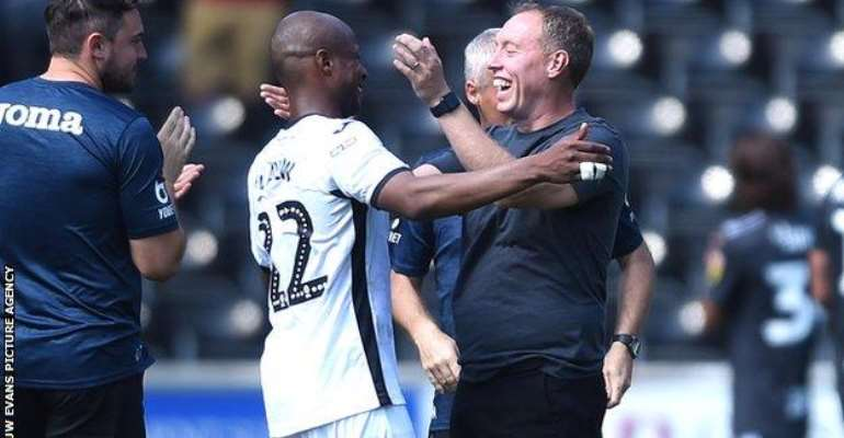 Steve Cooper (right) made Andre Ayew Swansea's vice-captain earlier this season