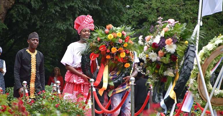 Deputy Head of Mission of the Embassy of Ghana in Netherlands lay wreath in commemoration of the Emancipation Day Keti Koti