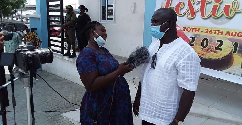 Hon. Adjei Tawiah speaking to the press after the launching.