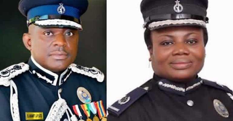 :Inspector-General of Police, David Asante Apeatu (L) and Director-General of Criminal Investigations Department, Maame Yaa Tiwaa Addo-Danquah