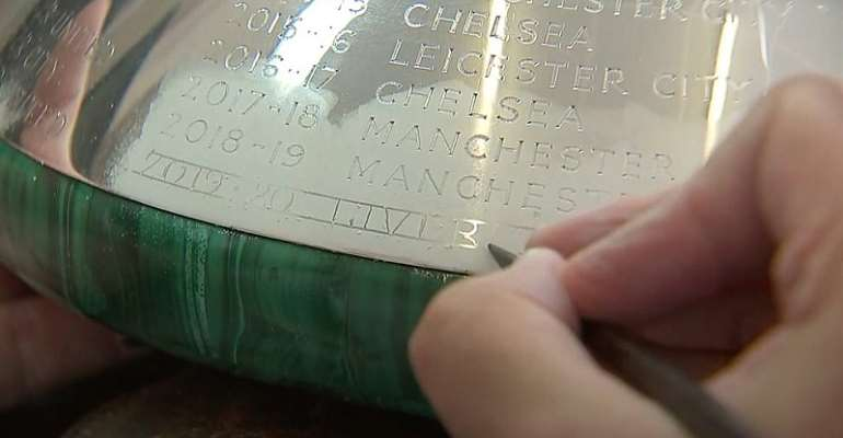 Liverpool's Name Engraved On Premier League Trophy