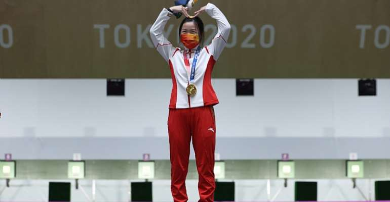Qian Yang won the first gold medal of the delayed Tokyo 2020 Olympic Games ©Getty Images