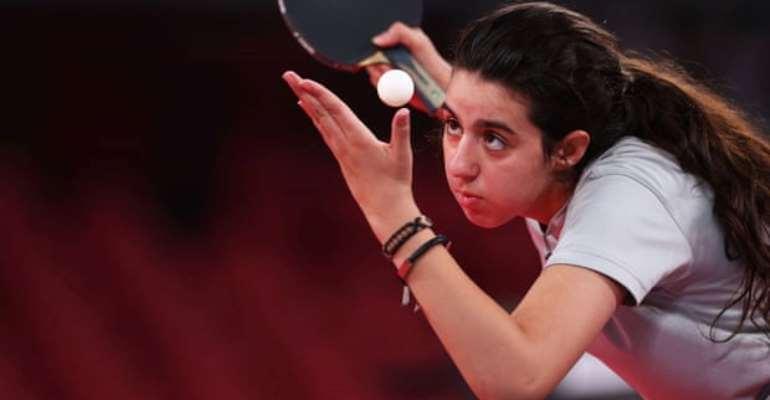 Syria's Hend Zaza serves in her preliminary round defeat by Austria's Liu Jia. Photograph: Luisa González/Reuters