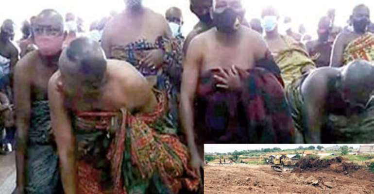 Bantamanhene begging Otumfuo. INSET: Bantamanhene's demolished property
