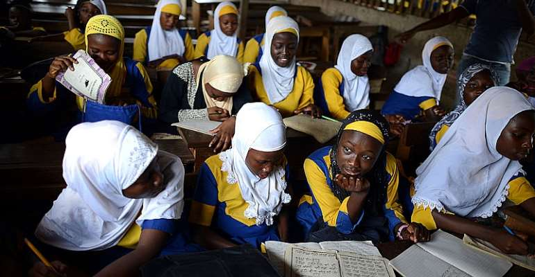 Ghanaian students attend a class in a madrasa or Muslim school. - Source: Mohamed Hossam/Anadolu Agency/Getty Images