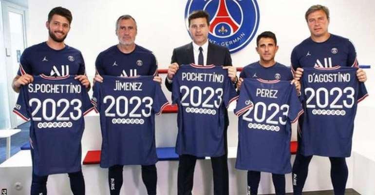 Mauricio Pochettino and his coaching staff at PSG