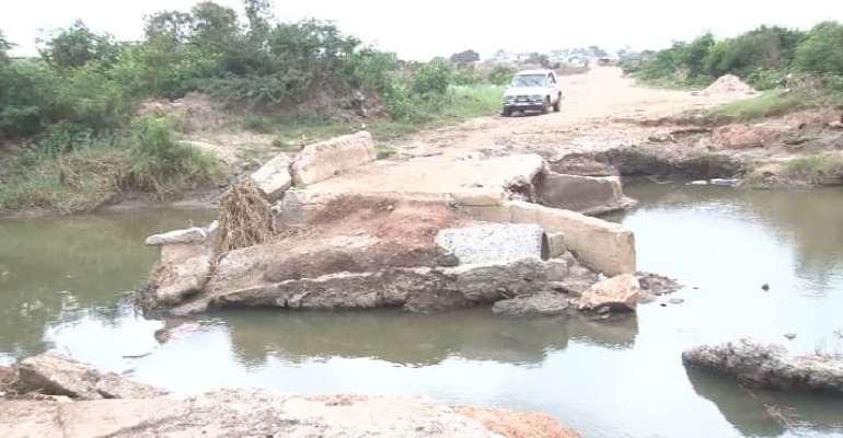 Collapsed bridge cuts off Borteyman in Accra