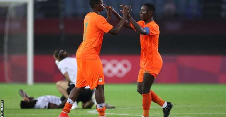 Ivory Coast's Idrissa Doumbia (left) and Max Gradel celebrate reaching the Olympic quarter-finals