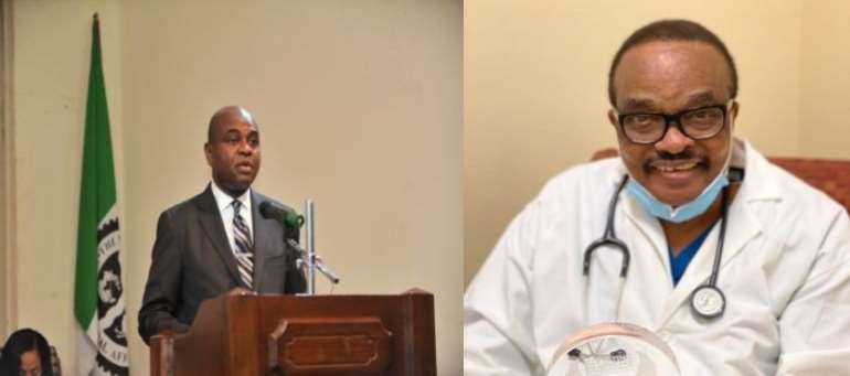 Professor Kingsley Moghalu and President of TBAN USA Inc., Dr. Julius Kpaduwa