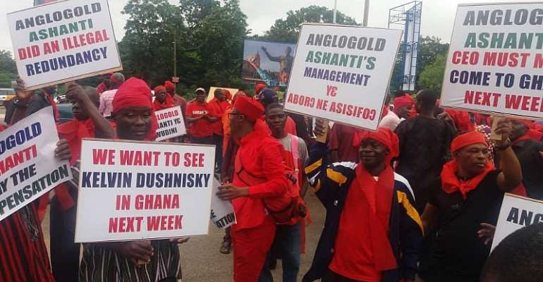 Ex-Workers Of Anglogold Protest Over Lack Of Compensation Package