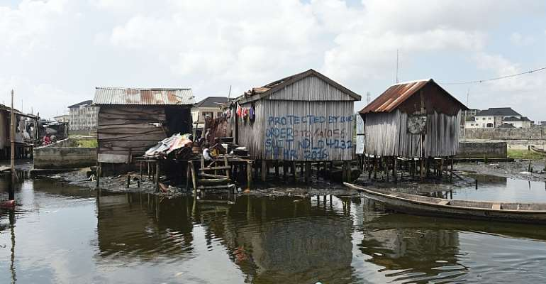 A shack in a waterfront community in Lagos.  - Source: GettyImages