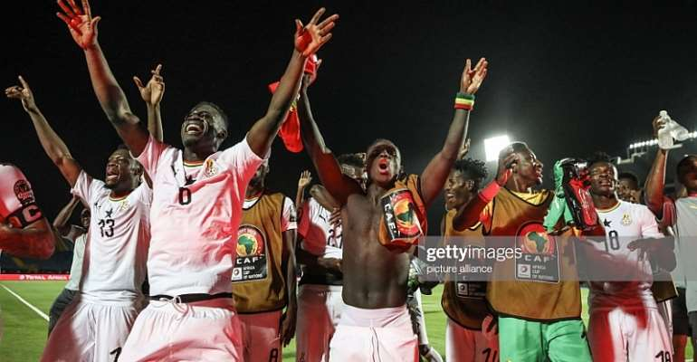 BLACK STARS PLAYERS CELEBRATES