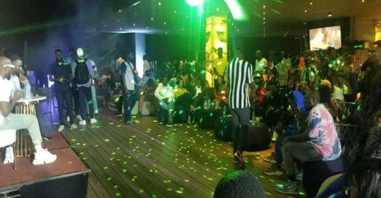 Sarkodie (in red), Serwaa Amihere, Lexis Bill and other in front row at 'As Promised' album listening