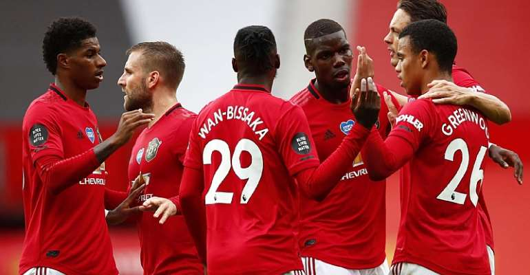 Mason Greenwood of Manchester United celebrates with teammates after scoring his team's first goal during the Premier League match between Manchester United and AFC Bournemouth at Old Trafford  Image credit: Getty Images