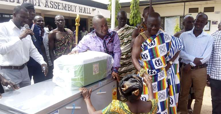 Hon.douglas Osei-Nti Dce Of Krachi West, Distribute Support Items, Startup Capital For People With Disability And Motorbikes For Agriculture Department