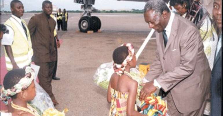 President arrives from Equatorial Guinea.