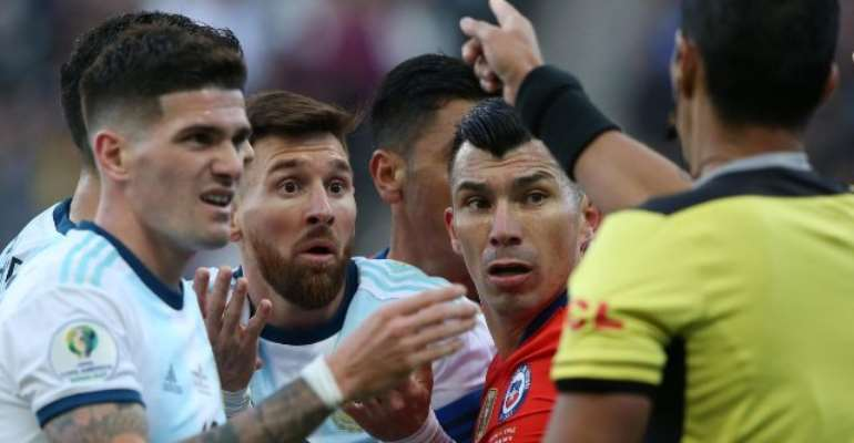 Messi Sent Off In Argentina's Feisty Copa America Win Over Chile