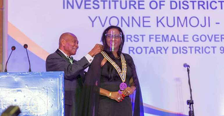 Yvonne Kumoji-Darko, First Female To Hold The Position Of Governor In District 9102, Being Inducted Into Office By Sam Okudzeto, A Past Rotary International Director And Trustee