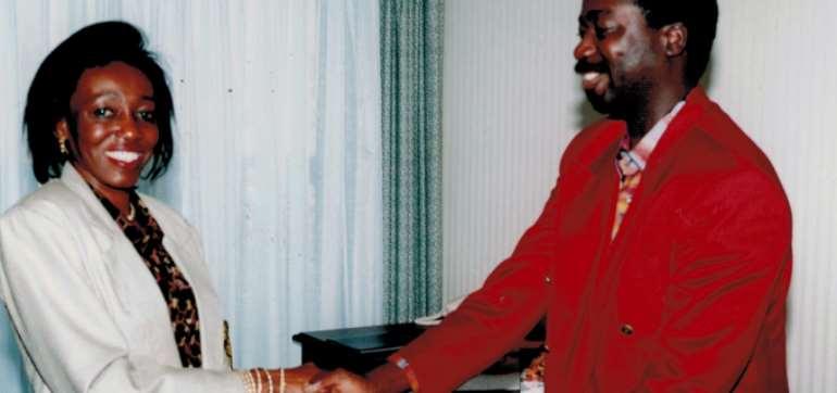 Nana Konadu Agyeman Rawlings and the former Chairman of Sikaman Foundation, Mr. Adu Ampoma