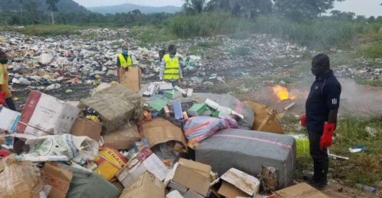 GRA Destroys Illegal Goods Seized In Volta