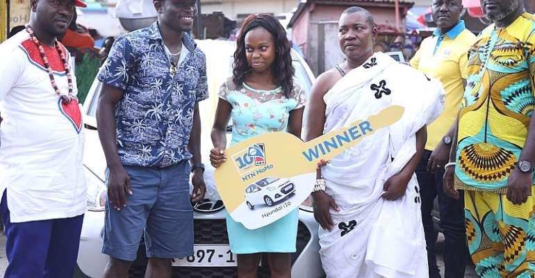 MTN Momo @ 10: 24 Year Old Salomey Armah Wins Hyundai i10, Others Take Home Tv Sets, Cash Prizes