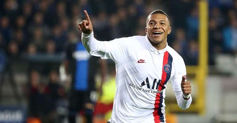 Kylian Mbappe of PSG celebrates after scoring a goal during the UEFA Champions League group A match between Club Brugge KV and Paris Saint-Germain at Jan Breydel Stadium on October 22, 2019 in Brugge, Belgium.  Image credit: Getty Images
