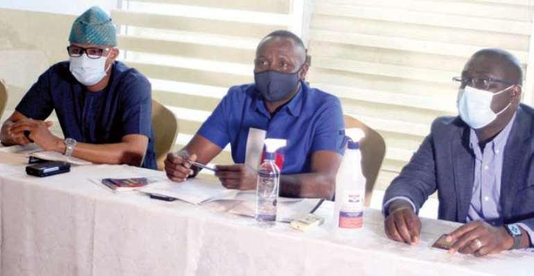 Mustapha Hamid, John Boadu and Sammi Awuku at the NPP press conference