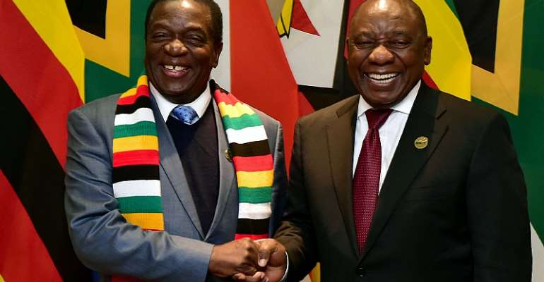 President Emmerson Mnangagwa of Zimbabwe and President Cyril Ramaphiosa of South Africa in 2018. - Source: GCIS