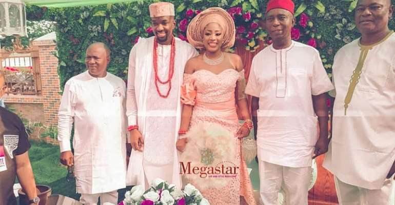 Celebrity Glamour As Ned Nwoko, Football Legends, Others Storm Chukwuebuka Anyaduba and Fiancee Wedding