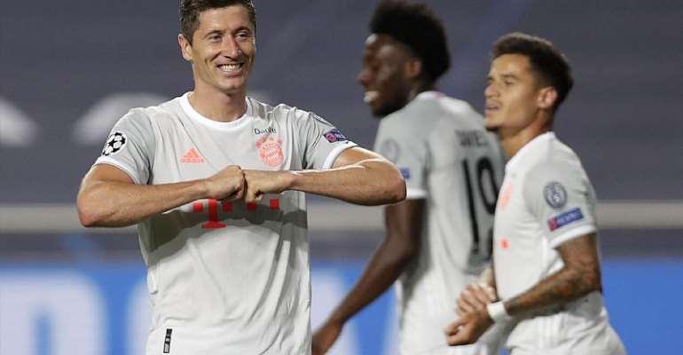 Robert Lewandowski celebrates his goal for Bayern Munich  Image credit: Getty Images