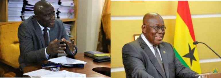 Chief Executive of Community Water and Sanitation Agency (CWSA), Engineer Worlanyo Kwadjo Siabi (MV) Left & Prez Nana Akufo-Addo