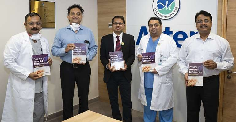 (Left to Right) Dr. Chetan Ginigeri, Consultant - Paediatrics & Paediatric Intensive Care, Aster CMI; Dr. Nitish Shetty, CEO, Aster Hospitals, Bangalore; Dr. Sagar Bhattad, Consultant - Paediatric Immunology & Rheumatology, Aster CMI; Dr. Shugota Chakrabarti, Chief of Medical Services, Aster CMI; Mr. Ramesh Kumar, COO, Aster CMI, supporting the book launch event