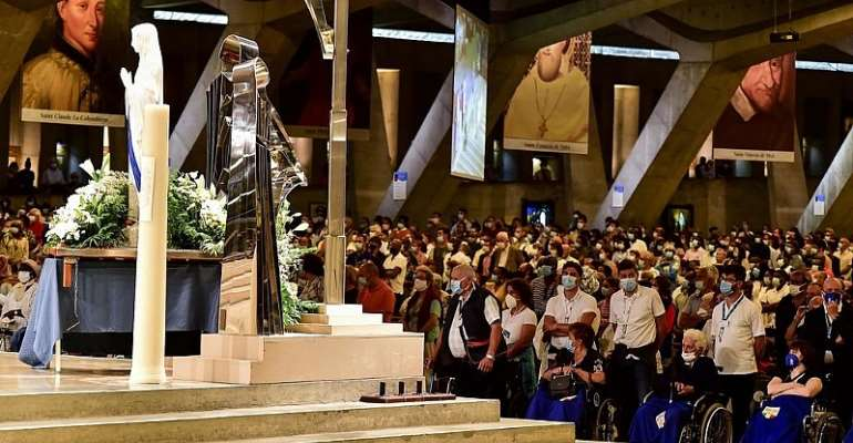 Reduced numbers gather at Lourdes for Assumption pilgrimage