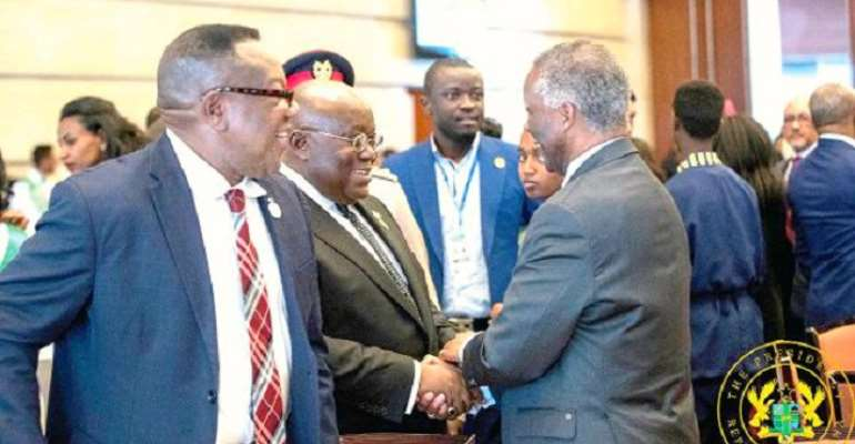 Akufo-Addo interacts with former South African President, Thabo Mbeki, photo credit: Ghana media