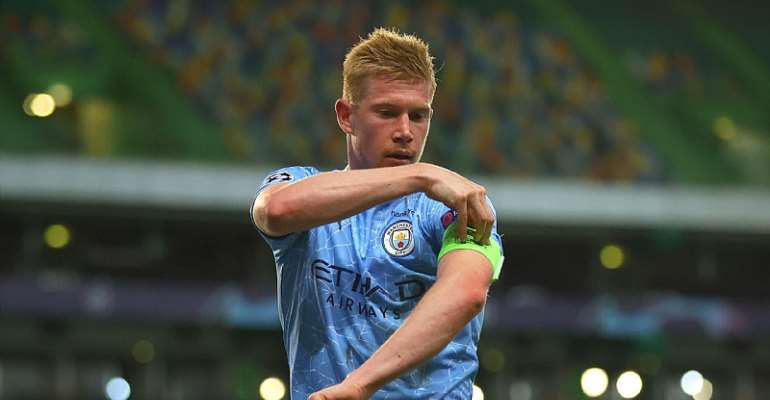 Kevin De Bruyne of Manchester City adjusts his captains armband during the UEFA Champions League Quarter Final match between Manchester City and Lyon at Estadio Jose Alvalade on August 15, 2020 in Lisbon, Portugal  Image credit: Eurosport