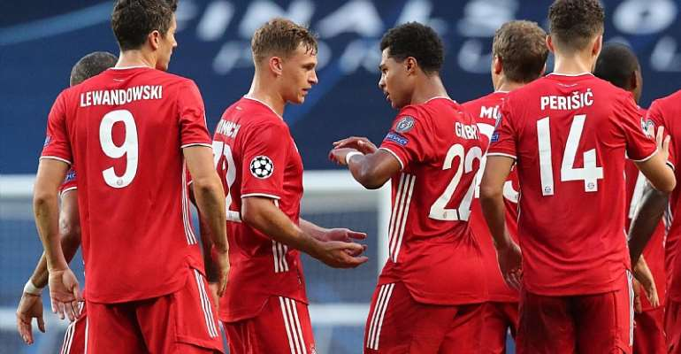 Serge Gnabry (4thL) of FC Bayern Muenchen celebrates his first goal with teammates Robert Lewandowski, Joshua Kimmich, Thomas Mueller and Ivan Perisic (L-R)  Image credit: Getty Images