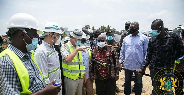 Axim Sea Defence Wall 85% Complete; Axim Fishing Port 50% Complete – Akufo-Addo Briefed During Tour Of Western Region