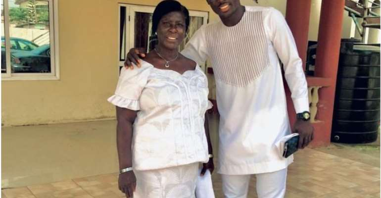 Richard Ofori with his late mother