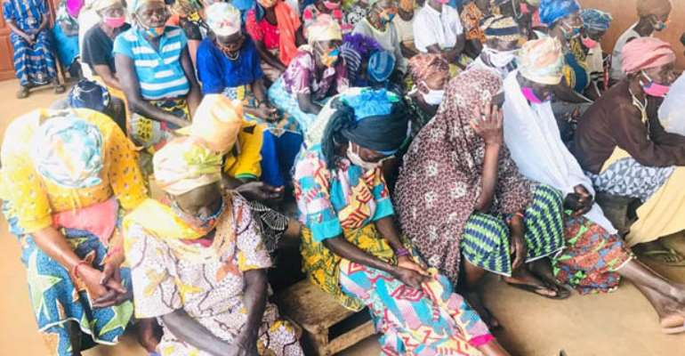Some alleged witches mourning their colleague at the Gambaga camp