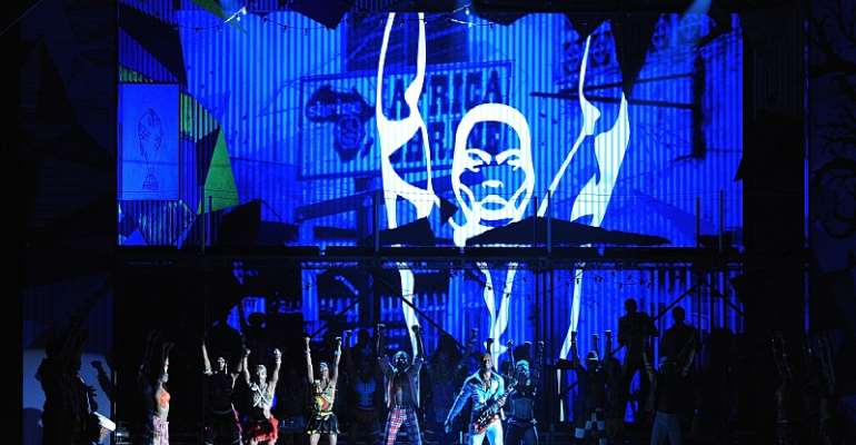 The cast of Fela! performs during the 64th Annual Tony Awards at Radio City Music Hall in 2010 in New York City. - Source: Dimitrios Kambouris/WireImage/Getty Images