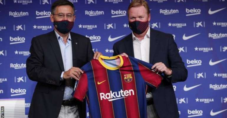 Barcelona's new manager Ronald Koeman at a press conference on Wednesday