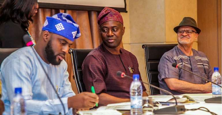 L-R-- Speaker of the Oyo State House of Assembly, Rt. Hon. Debo Ogundoyin; Oyo State Governor, Engr. Seyi Makinde; and IITA Deputy Director-General (Partnerships for Delivery), Dr Kenton Dashiell during the three-day retreat on Agribusiness in Cotonou, Republic of Benin.