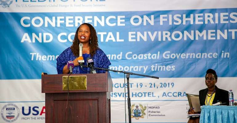 Acting Deputy Mission Director of USAID/Ghana, Ms. Janean Davis, delivering remarks at the National Fisheries Conference in Accra.