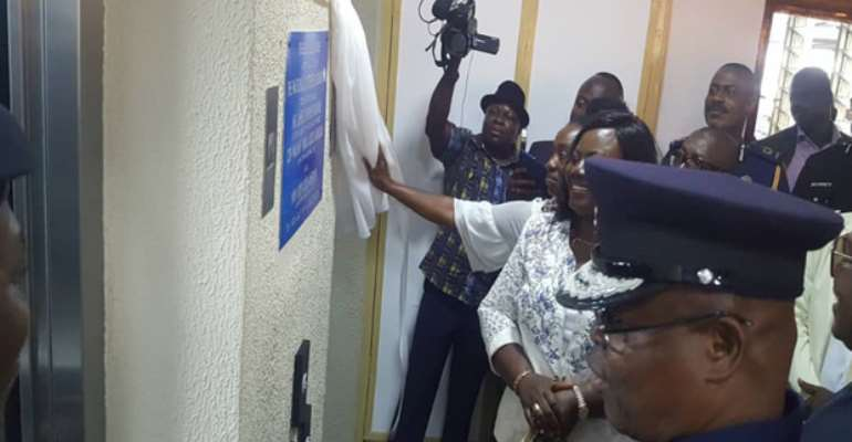 James Oppong-Boanuh, COP Tiwaa Addo-Danquah and Kofi Osei Ameyaw commissioning the elevators