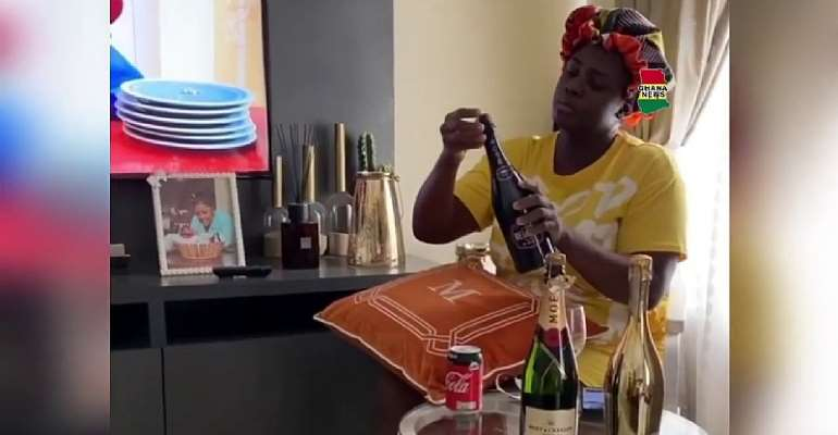 Tracey Boakye Pops Expensive Champagne After Ken Agyapong Failed To Expose Her