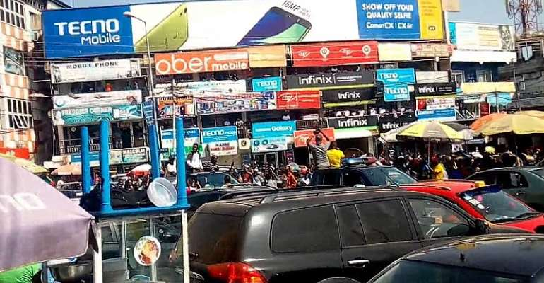 Tip Toe Lane at the Kwame Nkrumah Circle is one spot for foreigners engaged in retailing mobile phones