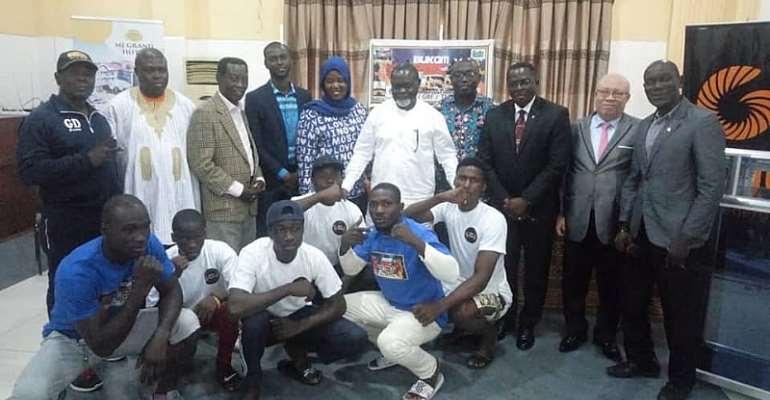 Bukom Fist of Fury Boxing Presents Replica Shirts To Professor Azuman Nelson And GOC President