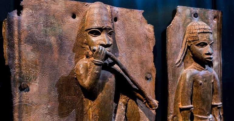 Looted Benin Bronzes on display at the Linden Museum in Stuttgart, Germany. - Source: Thomas Niedermueller/Getty Images
