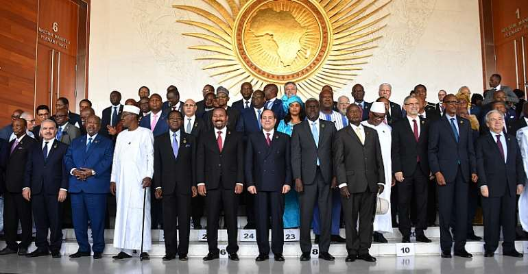 African leaders at the 33rd African Union Heads of State Summit at the headquarters in Addis Ababa, Ethiopia in February 2020.  - Source:
